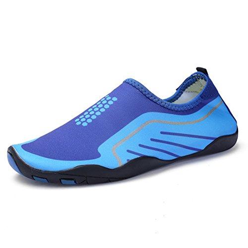 Wqinshoe Mannen En Vrouwen Barefoot Sneldrogend Watersport Aqua Schoenen Voor Strand Zwembad Surfen Yoga Duiken Blauw