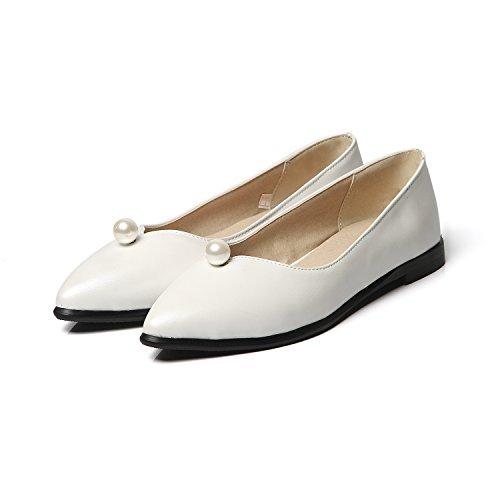 Show Shine Pompes À Glissière Pour Femmes Slip On Mocassins Perlés Chaussures Blanches
