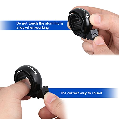 YOOSUN Bike Bells Invisible Bicycle Bell Aluminum Mini Bicycle Bells and Cycling Horns, for Mountain Bike and Road Bike (8 Colors) (black-b, L) by YOOSUN (Image #3)