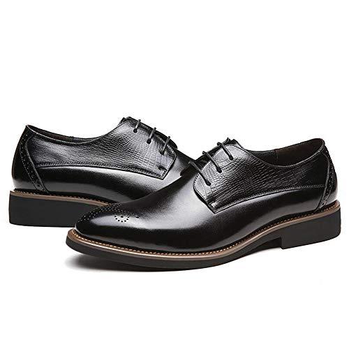 Goma Brogues Cordones Traje Casuales Oxford Hombres Black Charol Otoño Con Tallados Negocios Suelas Negro Zapatos De 8AIqPAw