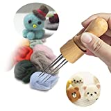 DIY Eight Needles Tool Craft Wool Felt Stitch Punch Tool with Solid Wood Handle Felting More efficient