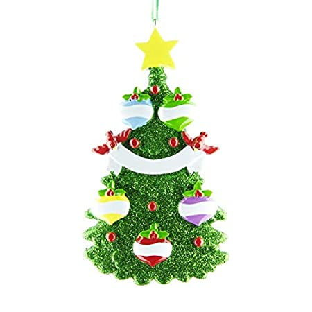 Green Christmas Tree Decor Personalised Christmas Xmas Tree Ornament Decoration Get Your Desired Names On The Items A Family Of 5