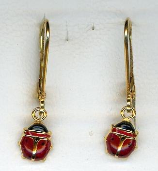 Diamantly Boucles D Oreilles Dormeuse Coccinelle Or Jaune Or 375