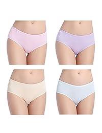 wirarpa Women's Cotton Underwear 4 Pack Low Rise Briefs Stretch Hipster Panties