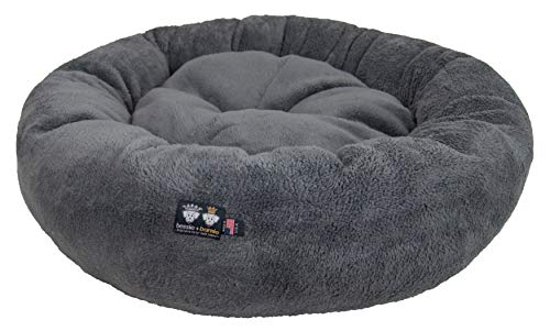 BESSIE AND BARNIE Ultra Plush Deluxe Comfort Pet Dog & Cat Grey Snuggle Bed (Multiple Sizes) – Machine Washable, Made in The USA, Reversible, Durable Soft Fabrics