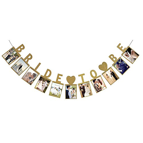 (LINGPAR Bride to Be Photo Banner Gold Foiled for Wedding Sign Bridal Shower Banner Hen Night Decoration (Gold))