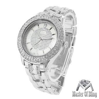 Mens White Finish Watch Lab Diamond Silver Joe Rodeo Jojino KC Water - Watch Diamond Platinum
