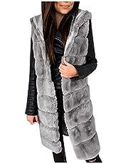 Briskorry Dames wintervest lang gewatteerd vest mouwloos gewatteerde jas oversized cardigan bontjas warme winterjas kunstbont vest jas outwear winterjas