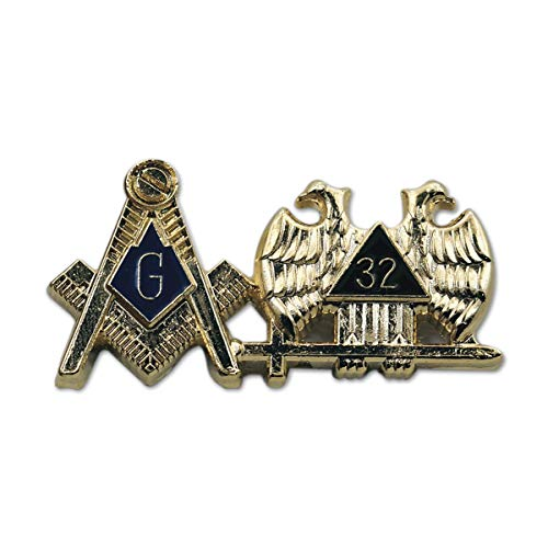"Square & Compass 32nd Degree Double Headed Eagle Gold & Blue Masonic Lapel Pin - 1 1/4"" Wide"