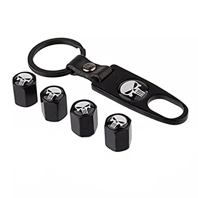 Generic Car Wheel Tyre Tire Stem Air Valve Caps Key Chain Set
