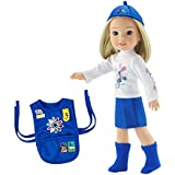 14 Inch Doll Clothes   Daisy Girl Scout Outfit, Includes Skirt, T-Shirt with Daisy Print, Tunic with Embroidered Patches, Matching Hat/Socks   Fits American Girl Wellie Wishers Dolls   Gift Boxed!