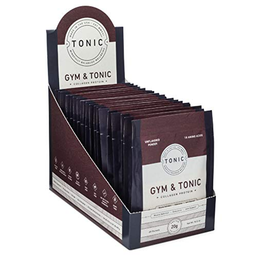 TONIC: Gym & Tonic Collagen Powder & Alternative to Whey Protein Powder, Paleo + Keto Friendly, Muscle Building, Unflavored, 20 Single Servings