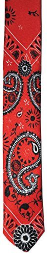 New Wave 70s 80s Gothic Metal Goth Punk Western Paisley Skinny Necktie Tie (Red)