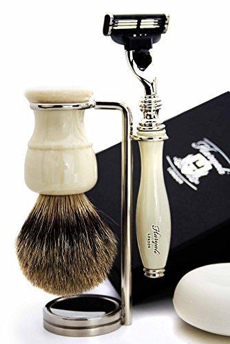Sliver Tip Badger Hair Brush,Mach 3 Razor with Ivory Handle, Brush Stand,Bowl