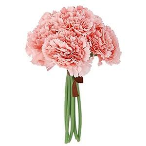MagiDeal 1 Bunch Artificial Silk Carnation Flower Arrangement 6 Stems Wedding Bouquets Floral Decor 23cm H