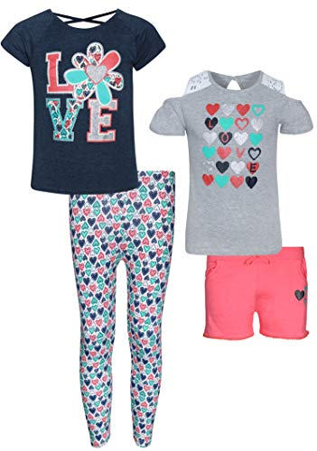 Set Capri Outfit - Real Love Girls' 4 Piece Spring and Summer Capri and Short Set with Matching Shirts, Love, Size 7/8'