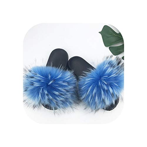 28 Colors Real Fur Slippers Women Fox Fluffy Sliders Comfort with Feathers Furry Summer Flats Sweet Ladies Shoes,4,91