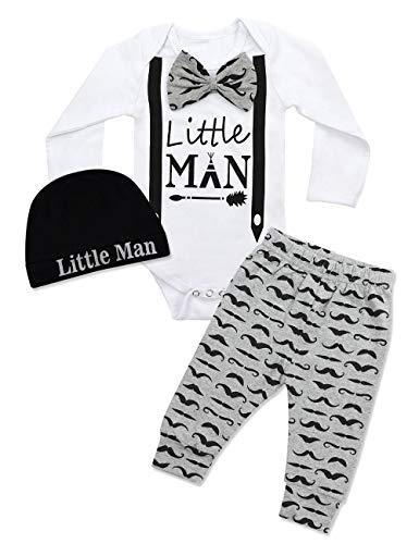 Newborn Baby Boy Clothes Hipster Bowtie Strap Long Sleeve Bodysuit +Moustache Pants+Hat 3Pcs Outfits Set 9-12 Months -