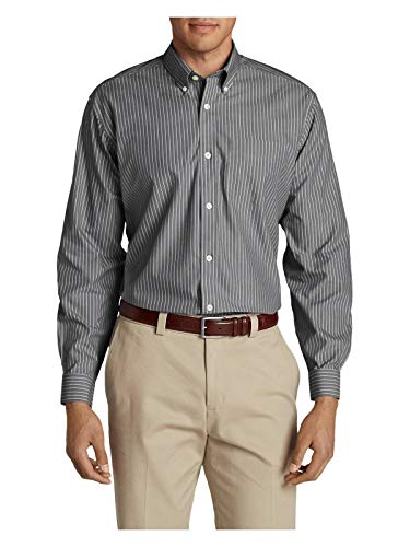 (Eddie Bauer Men's Wrinkle-Free Pinpoint Oxford Classic Fit Long-Sleeve Shirt - S Ash (Grey))