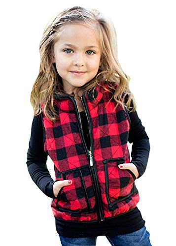 Kid Little Girls Puffer Lightweight Plaid Quilted Vest Cute Winter Outwear Padded Outfit (4-5 Years, Red&Black)