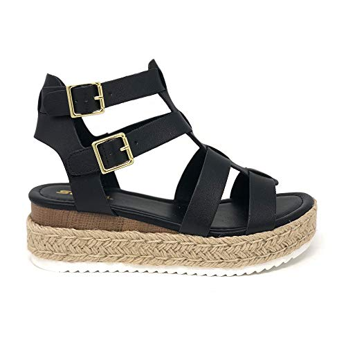 (SODA Clip Womens Casual Espadrilles Trim Flatform Studded Wedge (6 M US, Black E))