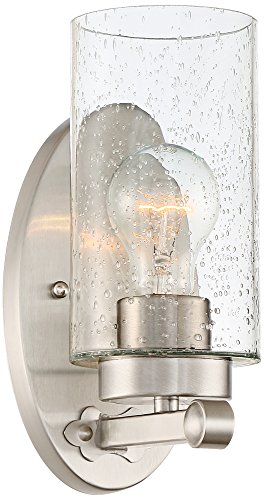 Holman 9 3/4'' High Seedy Glass Brushed Nickel Wall Sconce by Franklin Iron Works