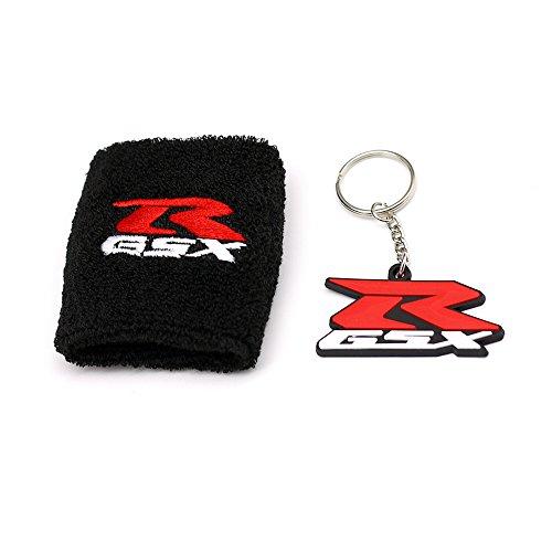 MOCO Motorcycle Black Fluid Brake Reservoir Sock Cover with KeyChain, Key Ring,Fit For Suzuki GSXR, GSX-R, 600, 750, 1500, 1300, Hayabusa, Katana, TL 1500, SV 650, Sports Wristband,Sweatband -Black (Motorcycle Break Reservoir)