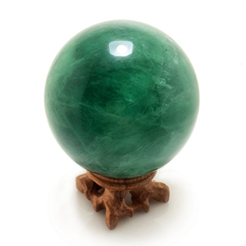 Large Green Fluorite Crystal Ball Sphere with Display Wood Stand, 90 mm/3.5
