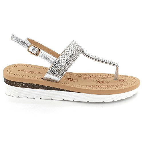 Soir F Femmes Toe Post Cristal Diamante Dames w8vqAZS6