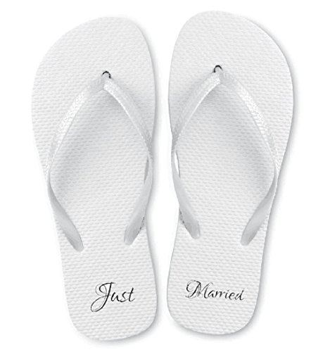 Just Married Wedding Flip Flop Sandals. Perfect for any Beach Wedding or Wedding Favor. Comes in Assorted Sizes of 20 or Individual Sizes. Assorted Case of 20 by Just Married