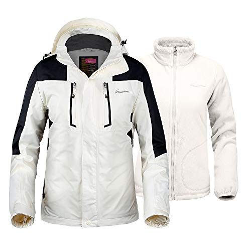 (OutdoorMaster Men's 3-in-1 Ski Jacket - Winter Jacket Set with Fleece Liner Jacket & Hooded Waterproof Shell - for Men (Off White,L))