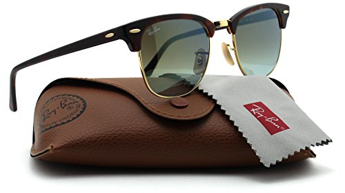 Ray-Ban RB3016 Clubmaster Flash Gradient Series Unisex Sunglasses (Red Havana Frame/Green Mirror Gradient Lens 990/9J, - Club Master Ray Ban Sunglasses