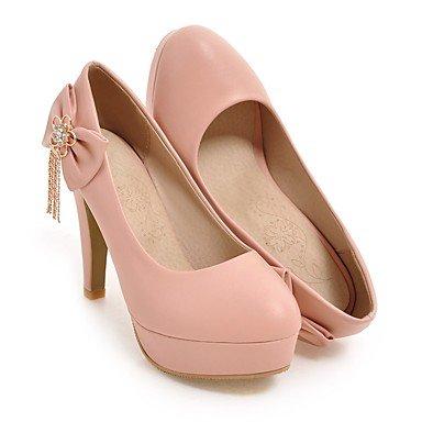 Otoño tacón Verano aguja rosa Talones Zapatos de de y Bowknot Club boda Invierno de de banquete Primavera la las ChainYellow de noche White vestido mujeres de del PU del Rhinestone RXBYwfYx