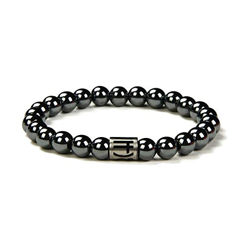 Morchic Magnetic Hematite Gemstones Simple Design Stretch Bracelet for Men Women Unisex Pain Relief Healing