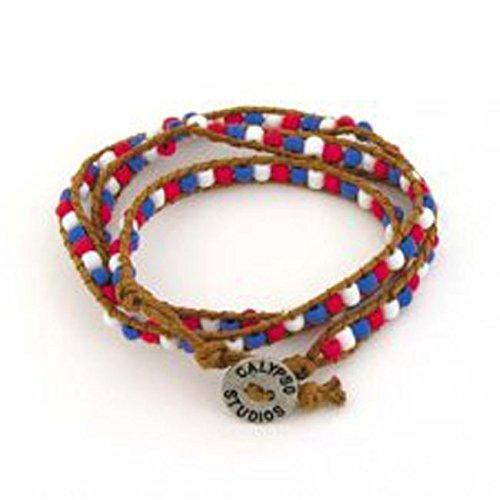 Bracelet Calypso Studios - FlagandBanner Red/White/Blue Bead Wrap Bracelet
