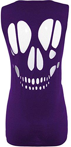 Retour Ouvert Taille Purple Gilet Plus Collection Xclusive De Tête Nouveau Femmes Cut Crâne Laser Hauts WERw08qw6