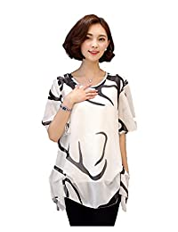 Comvison Woman Summer Chiffon Blouse Short Sleeve Summer Tops White Loose Blouses