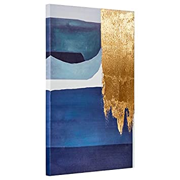 Rivet Contemporary Print with Gold Leaf Wall Artwork D cor on Canvas – 24 x 36 Inch, Blue and Grey