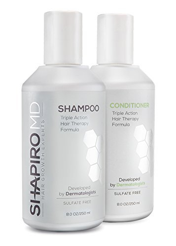 Shapiro MD Shampoo and Conditioner Containing the 3 Most Powerful, All-Natural DHT Blockers for Thicker, Fuller, and Healthier Hair (2 Month Supply) by Shapiro MD