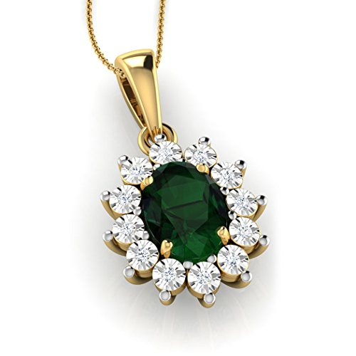 18K Or Blanc 0,05CT TW Round-cut-diamond (IJ | SI) et pendentif Émeraude