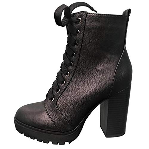 SODA Women's Malia Faux Leather Lace Up Chunky Ankle Boot,Black Pu, 6.5 M US