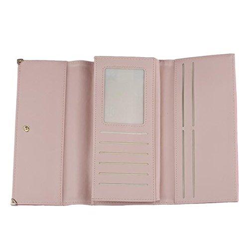embrayage cuir Sacs Credit Holder Wallet noir longue Tonsee Lady cadeau bourse Card rose chaud femmes en EqqYxP