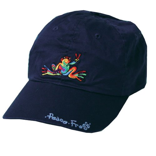 Peace Frogs 25112 - Navy Retro Frog with Words Baseball Hat 1 lbs.