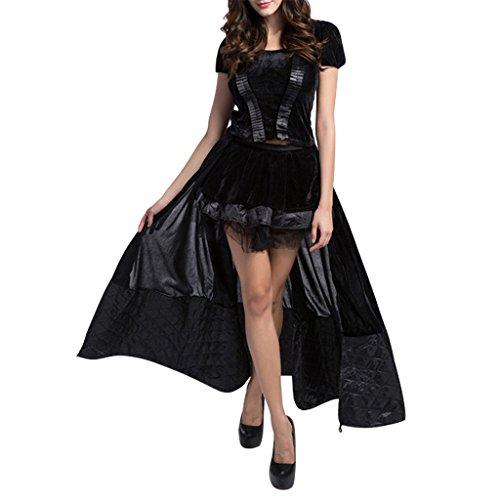 ワット道徳の交通ShangYi レディース Halloween Black Witches Dresses With Headhand