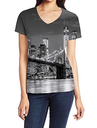 Girls T-Shirt, Brooklyn Bridge New York City Skyline Illuminated 3D Art Print Casual Tops for Women V-Neck Tees, S ()