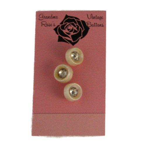 おばあちゃんのローズヴィンテージボタン3ラインストーンホワイトプラスチックボタン1/ 2インチの商品画像