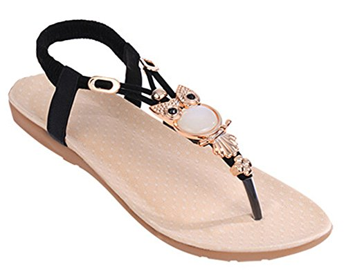 Fortuning's JDS® New Design Elegant T-Strap Thongs Flat Sandals with Rhinestone Black GLKe3WWY