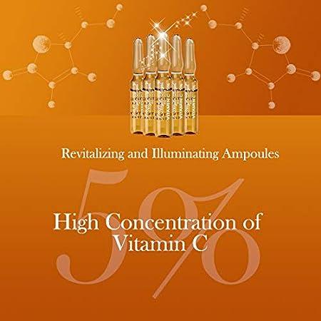 L'Angela Royal Ampollas Vitamina C 5%, Aporta Luminosidad High-Tech, Hidratación, Alta Concentración de Vitamina C, Antioxidante, Tratamiento Facial, Para Piel Seca, Grasa y Mixta, 5 x 2ml