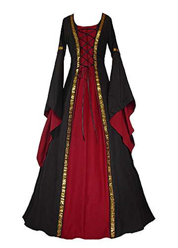 Misassy Womens Medieval Renaissance Costumes Dress Halloween Irish Over Dresses Lace Up Retro Gown Cosplay - Retro Costume Halloween