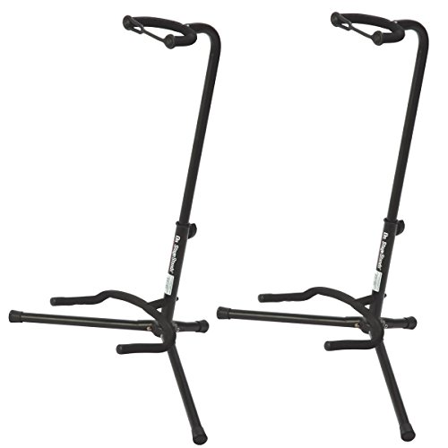 On Stage XCG4 Black Tripod Guitar Stand, 2 Pack (High Musical Quality Instrument)